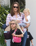 Jennifer Garner carried baby Samuel.