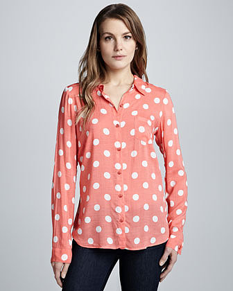 Ella Moss Pool Party Polka-Dot Blouse