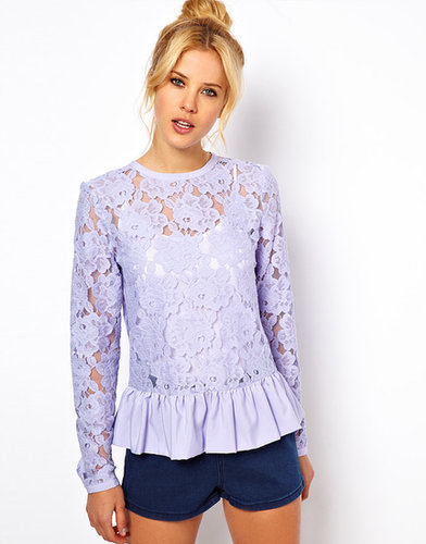 ASOS Heavy Lace Top With Peplum