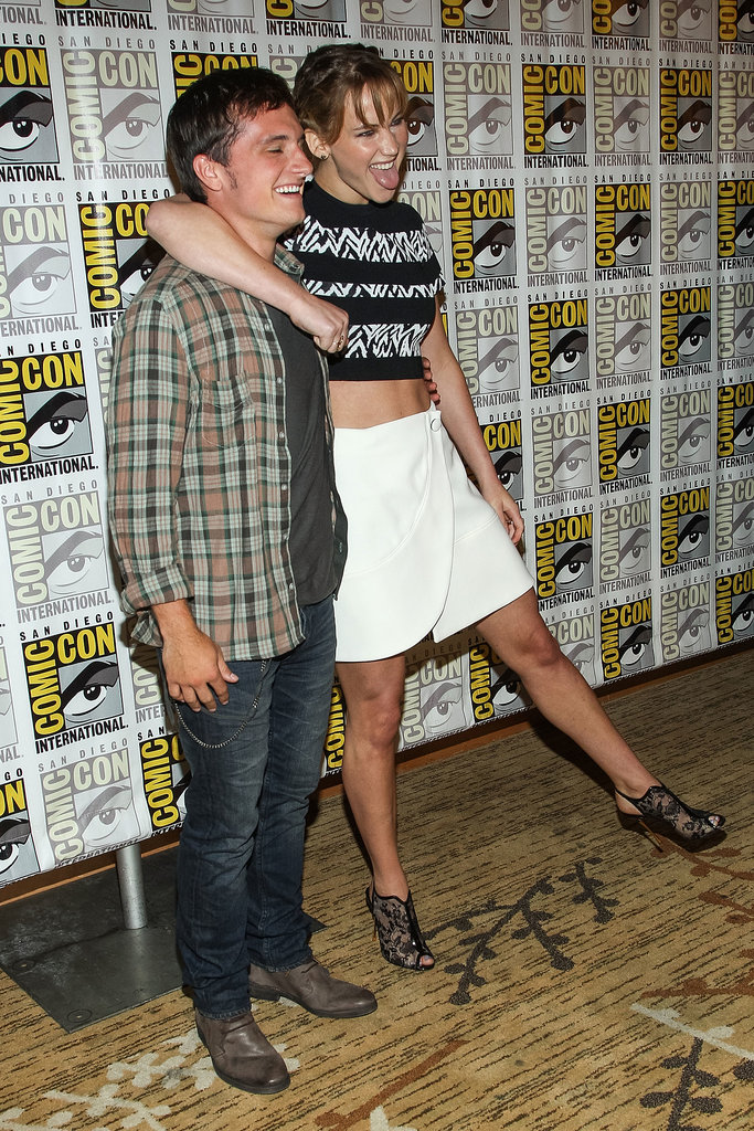 Jennifer Lawrence held on to her Catching Fire costar Josh Hutcherson.