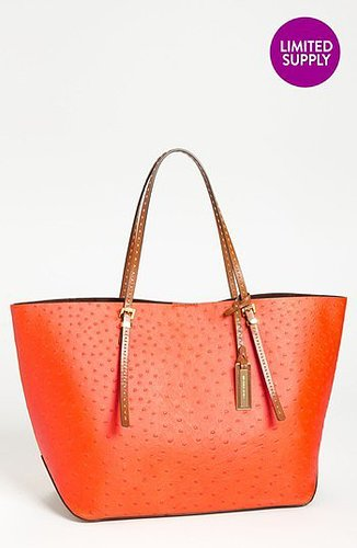 Michael Kors 'Gia' Ostrich Embossed Leather Tote, Extra Large Neon Orange