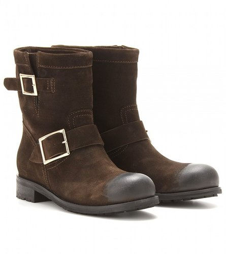 Jimmy Choo YOUTH SUEDE BIKER BOOTS WITH WAXED TOE