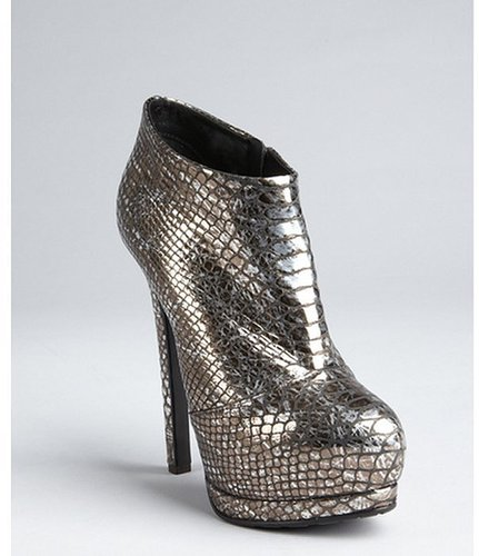 Giuseppe Zanotti pewter snake embossed patent leather ankle boots