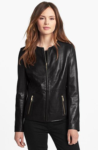 Tahari Collarless Leather Jacket Large