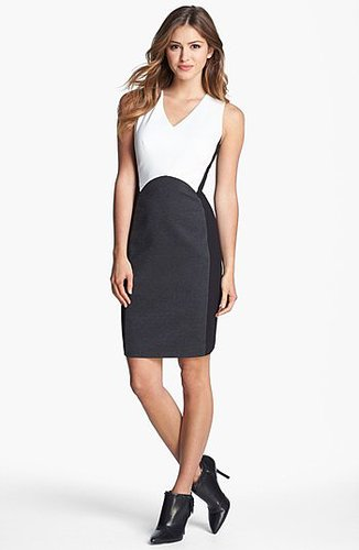 Vince Camuto Colorblock V-Neck Sheath Dress (Regular & Petite) (Nordstrom Exclusive)