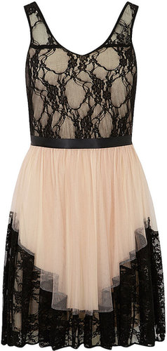 DP Collection Nude lace tuille dress
