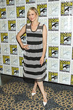 Vera Farmiga wore a striped dress to a press event for her show, Bates Motel.