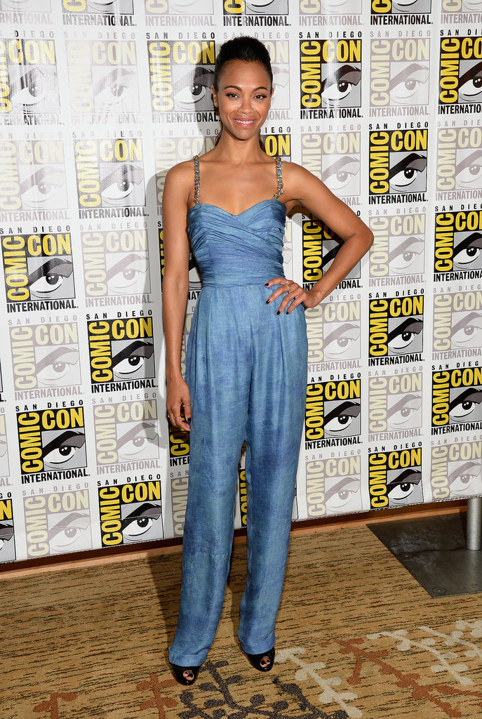 Zoe Saldana chose a Balmain Resort 2014 sleeveless blue jumpsuit with wide trousers for a Marvel Studios press event.