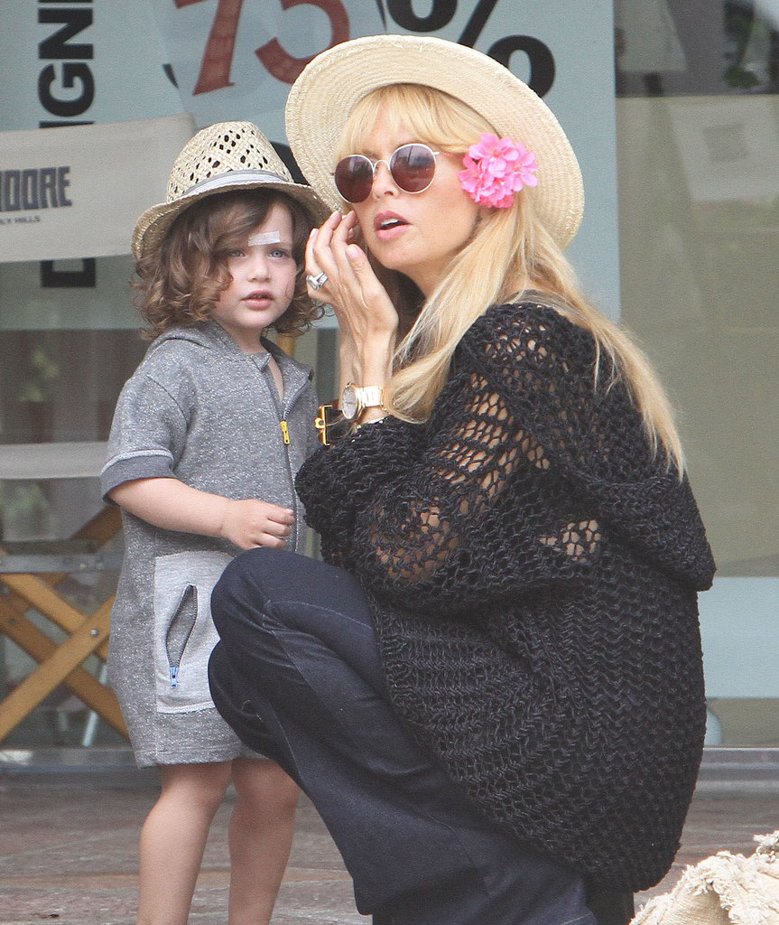 Rachel Zoe wore a flower picked by her son, Skyler, in Malibu on Saturday.