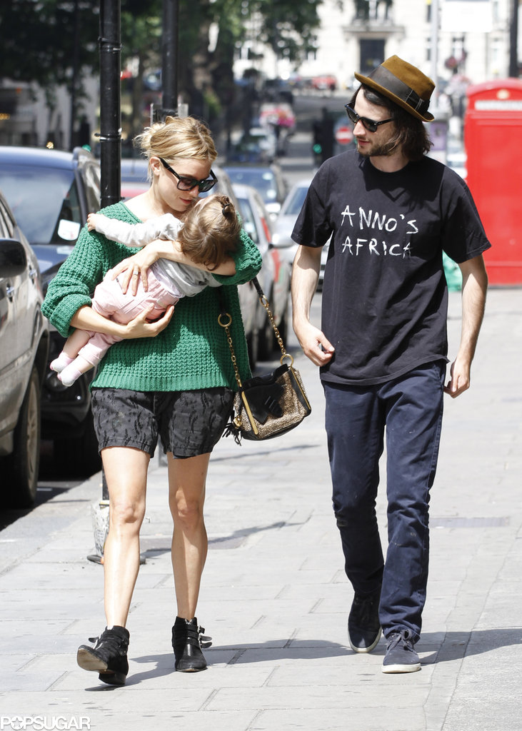 Sienna Miller and Tom Sturridge headed to lunch with their daughter, Marlowe, in London on Sunday.