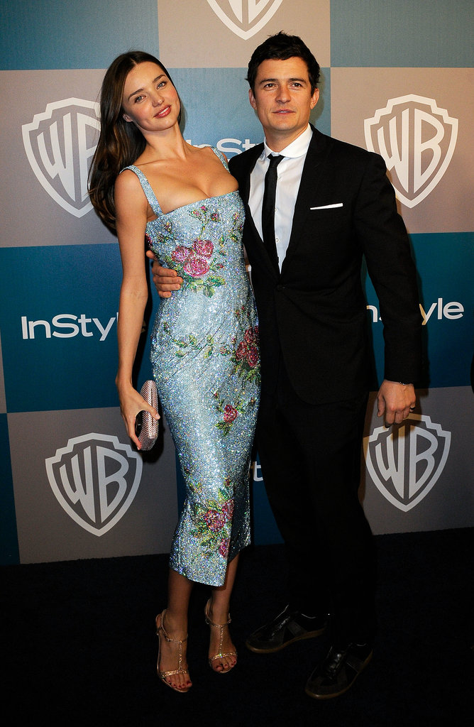 Miranda struck a model pose alongside Orlando at the InStyle Golden Globes after party in LA in Jan. 2012.