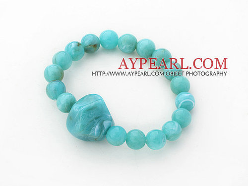3 Pieces Lake Blue Acrylic Stretch Bangle Bracelet (Total 3 Pieces)