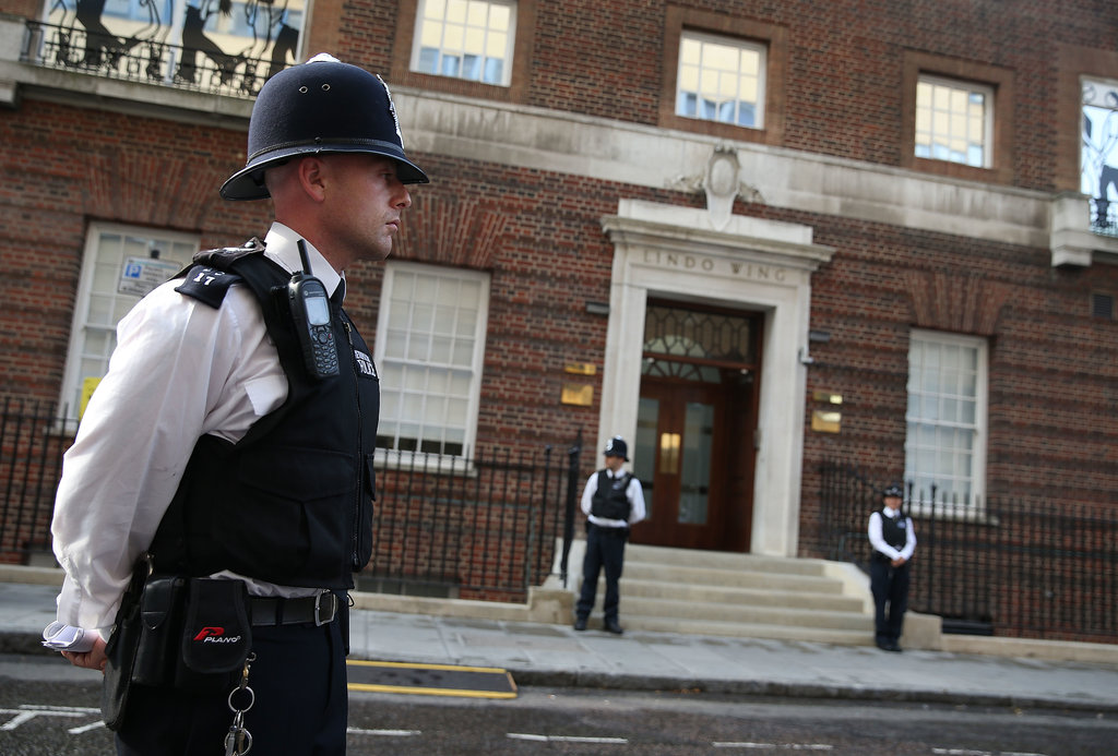 Police stood guard outside the Lindo Wing at St. Mary's Hospital.