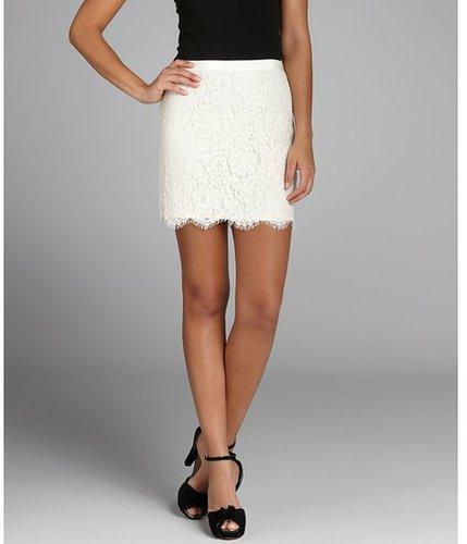 Wyatt ivory lace scalloped eyelash trimmed mini skirt