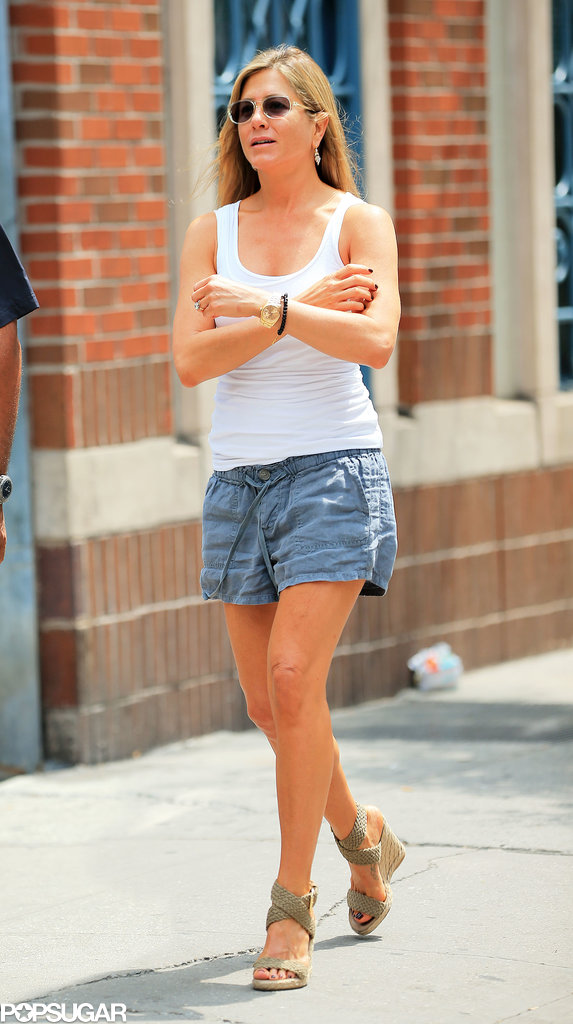 Jennifer Aniston was back on the set Monday.