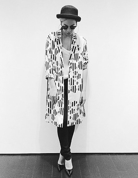 Beyoncé struck a pose in black and white wearing this fun patterned Topshop coat ($160) with skinny black denim and a pork pie hat.  Source: Instagram user beyonce