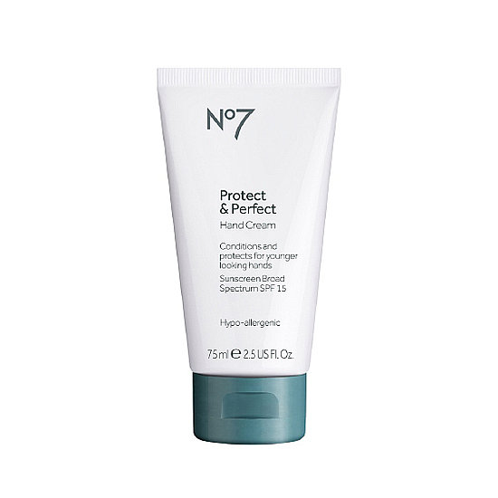 Smooth on Boots No. 7 Protect & Perfect Hand Cream ($15) for younger-looking hands. Dark spots will be lightened, while the sunscreens protects from future damage.