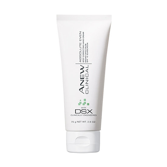 Don't let your hands show your age! Avon Anew Clinical Absolute Even Spot Correcting Hand Cream SPF 15 ($15) hydrates your hands with shea butter and helps diminish signs of aging with retinol.