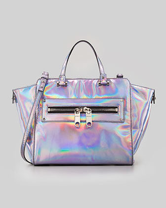 MILLY Hologram Demi Tote Bag, Silver