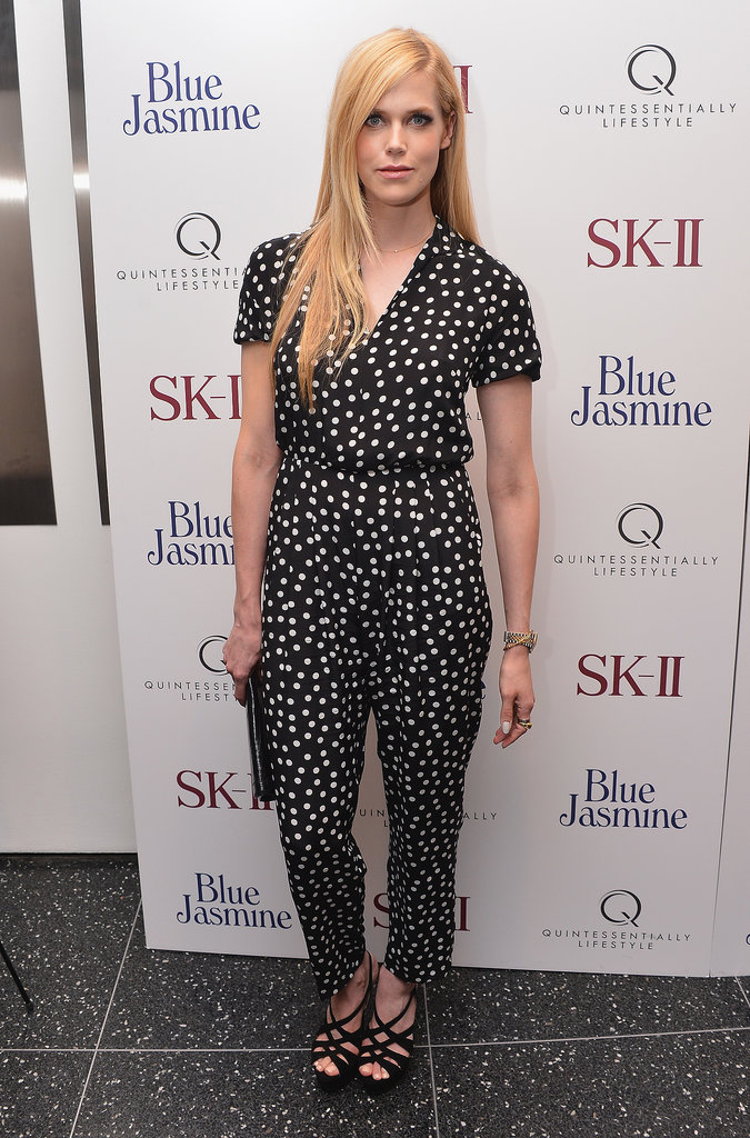 Byrdie Bell hit the Blue Jasmine premiere in New York wearing a spotted jumpsuit.