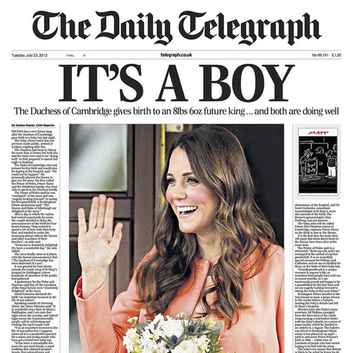 Royal Baby Birth News Newspaper Covers