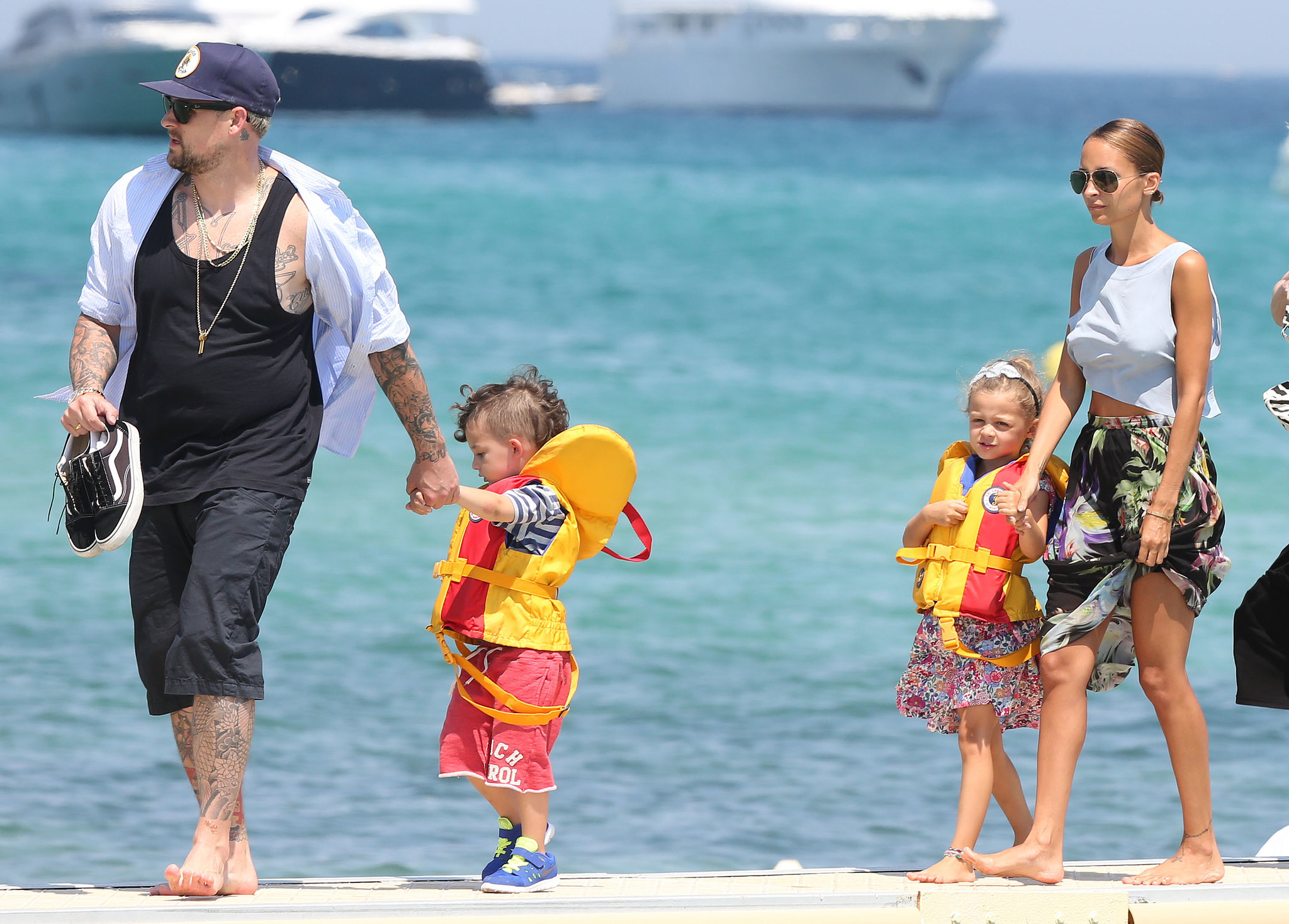 Nicole Richie joined her husband, Joel Madden, and their kids, Harlow and Sparrow, for a walk to the beach during their July 2013 vacation in St.-Tropez.