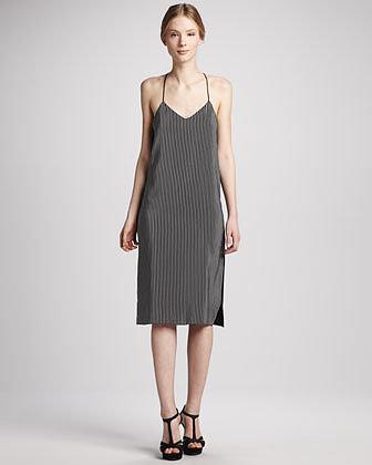 Tibi Stripe-Front Silk Halter Dress