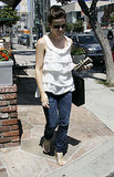 A tiered sleeveless blouse and woven espadrille sandals were Kate's look of choice for a July 2007 West Hollywood adventure.