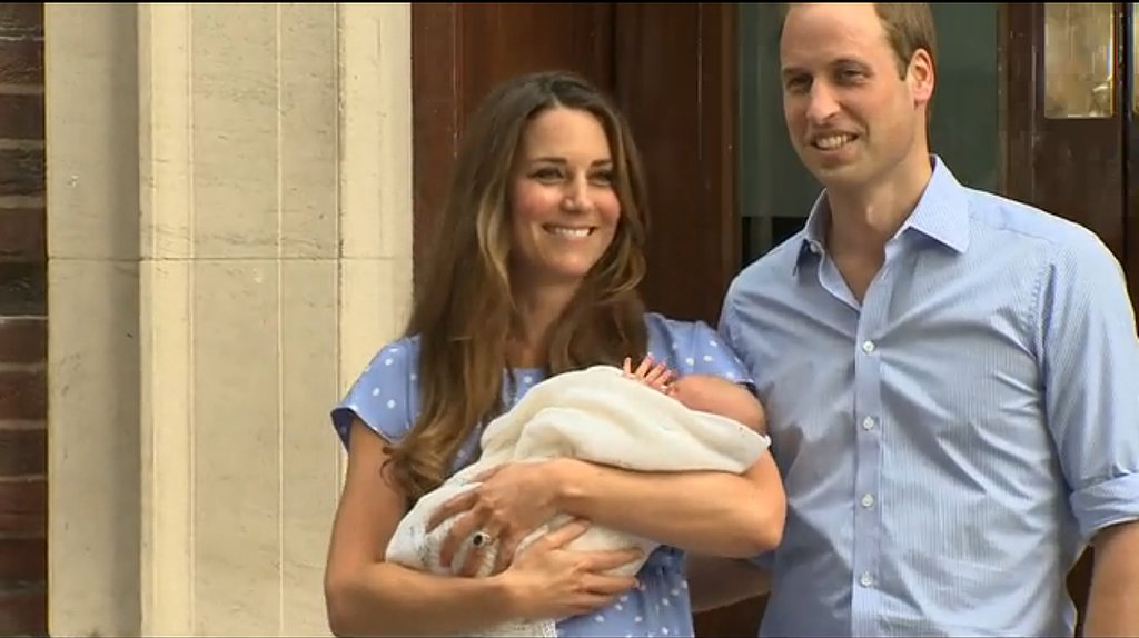 The Duke and Duchess of Cambridge held the royal baby as they left the hospital.