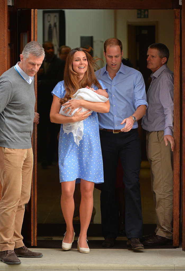 Prince William and Kate Middleton smiled as they left the hospital with their newborn prince.