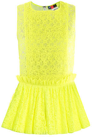MSGM Neon pleated lace top