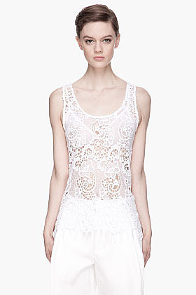 MSGM Sheer white Madame Lace Top