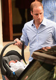 Prince William carried the royal baby in a car seat as they left St. Mary's Hospital in London.