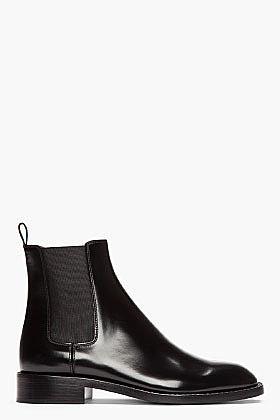 SAINT LAURENT Black Patent leather Rock Chelsea Boots