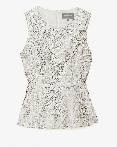 Anveglosa Exclusive For Intermix Laser-cut Leather Peplum Top