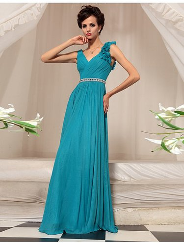 Blue V-neck Sleeveless Formal Bridesmaid Dress BD30743