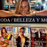 "Bar Refaeli had an ""awkward encounter"" with herself on the cover of Elle. Source: Instagram user barrefaeli"
