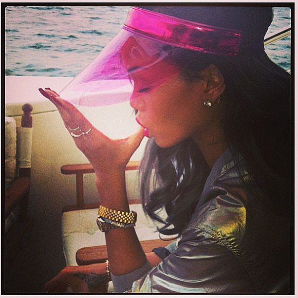 Rihanna hung out on a yacht. Source: Instagram user badgalriri