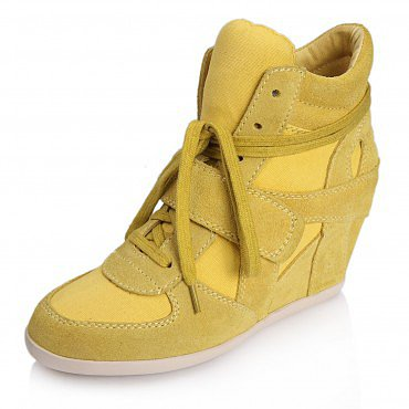 ASH BOWIE SUEDE WEDGE SNEAKERS YELLOW