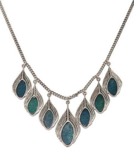 Lucky Brand Necklace, Silver-Tone Semi-Precious Turquoise Peacock Feather Necklace