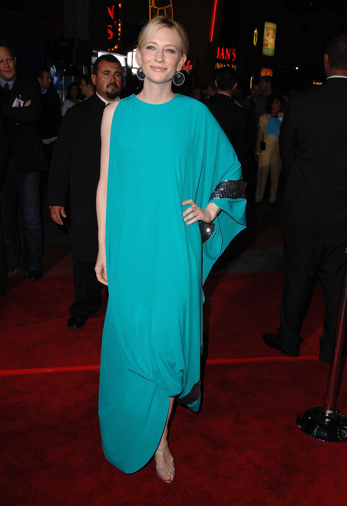 We could not stop staring at Cate's turquoise Missoni gown at The Golden Age premiere in LA. Between the vivid hue and the draped silhouette, it was nothing short of show-stopping.