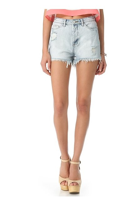 Obviously you need a pair of Blank Denim distressed high-rise cutoffs ($78). I mean, what else would you pair with your crop tops?