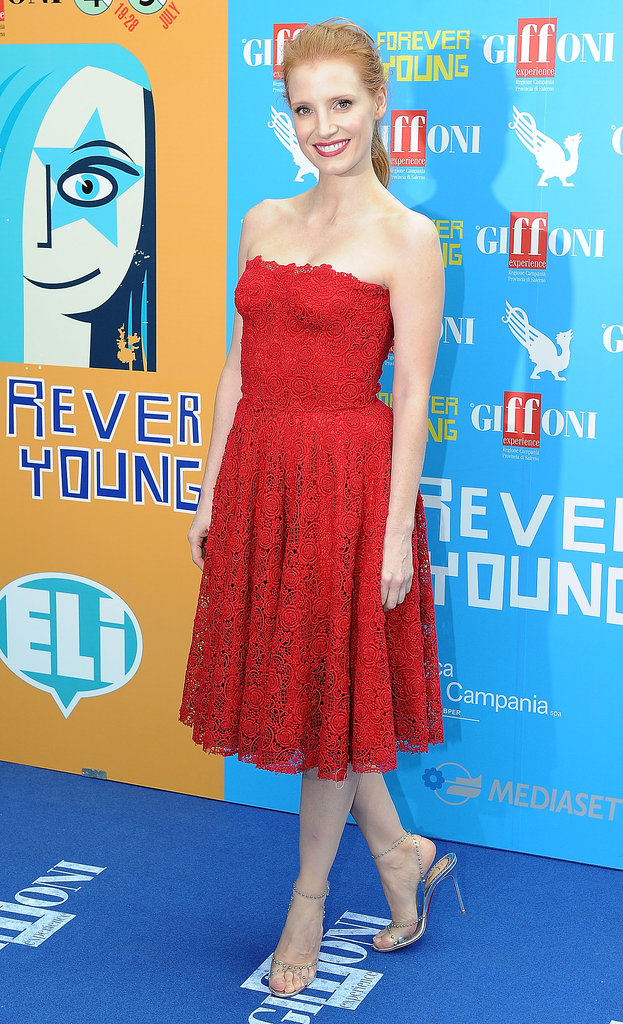 Jessica Chastain was the picture of classic femininity in red lace Dolce & Gabbana at the Giffoni Film Festival.