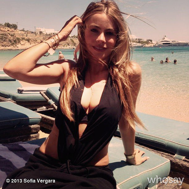 Sofia Vergara posed while lying out on the beach. Source: Sofia Vergara on WhoSay