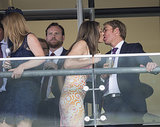 Liz Hurley leaned in for a kiss from beau Shane Warne while the pair were at Ascot Racecourse on July 28.