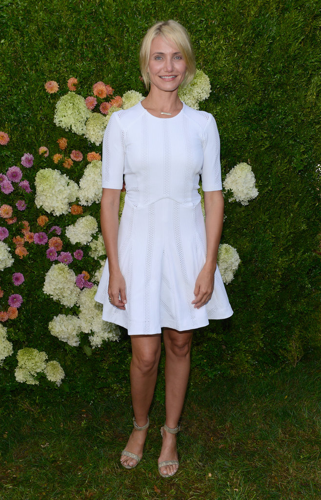 Cameron Diaz wore a white frock.