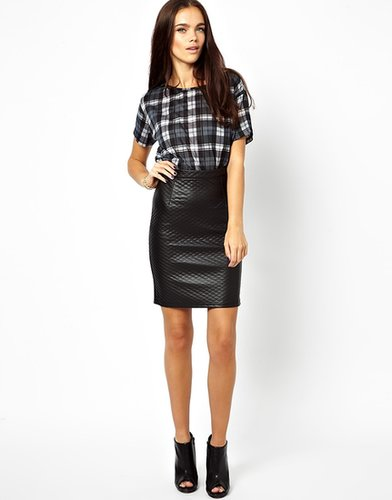 Glamorous Pencil Skirt In Quilted PU