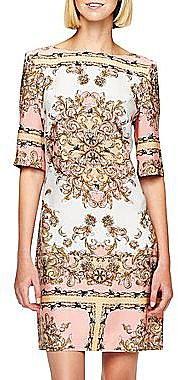 Elbow Sleeve Print Shift Dress