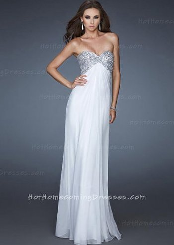 Classy Strapless Silver Sequin Long Homecoming Dress White for Cheap [White Sequin Long Homecoming Dress] - $175.00 : HHD | Hot