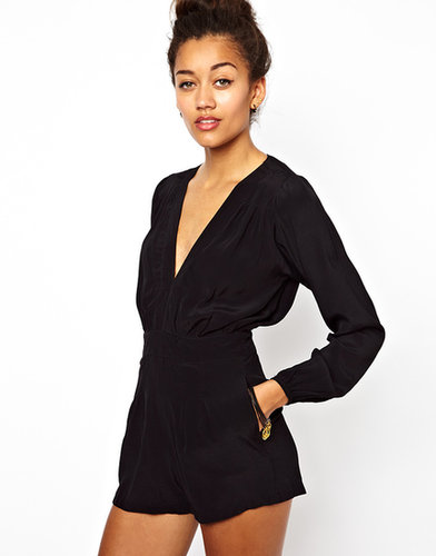 Motel Jet Playsuit With Plunge Neck